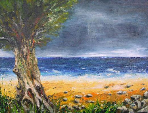 Strand, Wasser, See, Malerei, Himmel, Olivenbaum
