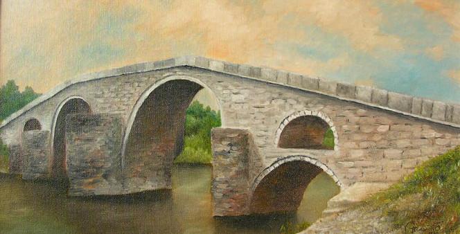 Malerei, Landschaft, Brücke