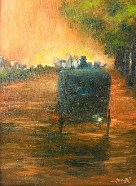 Landschaft, Malerei, Morgenröte