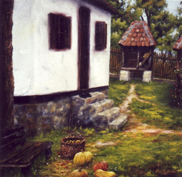 Haus, Garten, Nostalgie, Malerei, Kürbisse, Korb