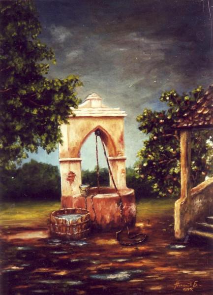 Landschaft, Malerei, Regen
