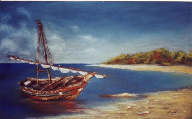 Malerei, Landschaft, Boot, Strand, Allein