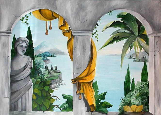 Badezimmer, Trompe, Illusionsmalerei, Wandmalerei, Loeil, Malerei