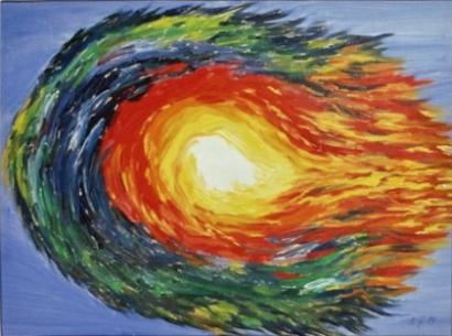 Surreal, Malerei, Feuerball