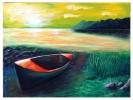 Malerei, Landschaft, See, Boot
