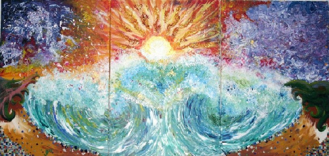 Meer, Mosaik, Malerei, Surreal, Welle