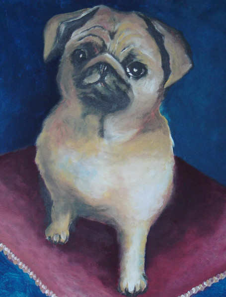Tiere, Portrait, Mops, Malerei, Hund, Figural