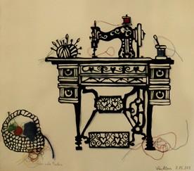 Kunsthandwerk, Wolle, Nähmaschine, Scherenschnitt