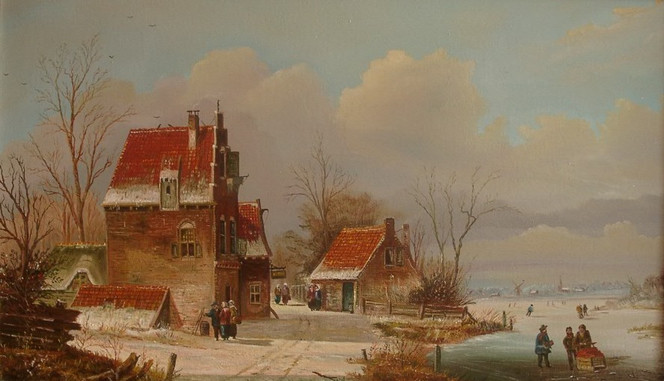 Winter, Menschen, Wolken, Zeitgenössisch, Holländische malerei, Eis
