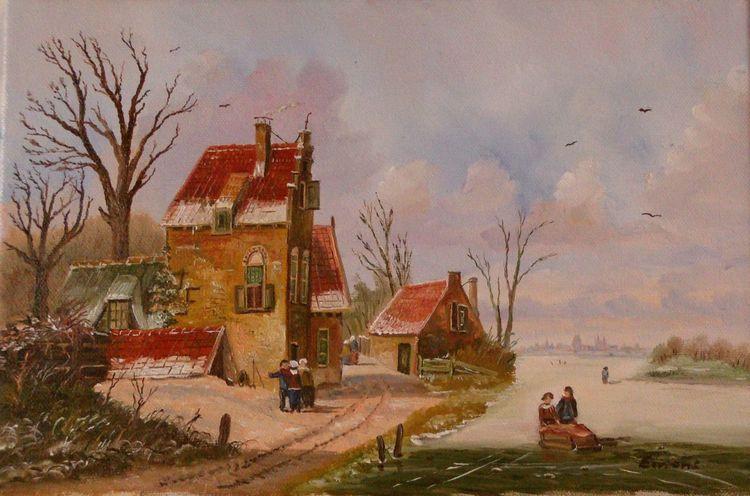 Winter, Haus, Gemälde, Zeitgenössisch, Menschen, Baum