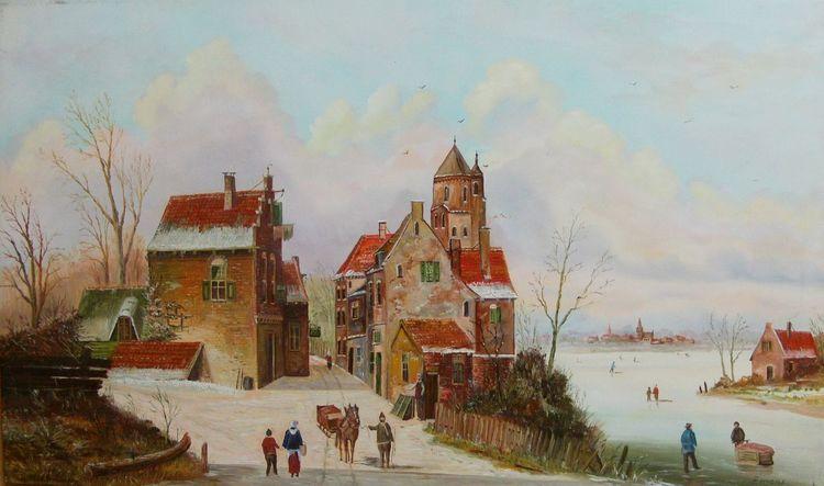 Winter, Stadt, Himmel, Landschaft, Gracht, Eis