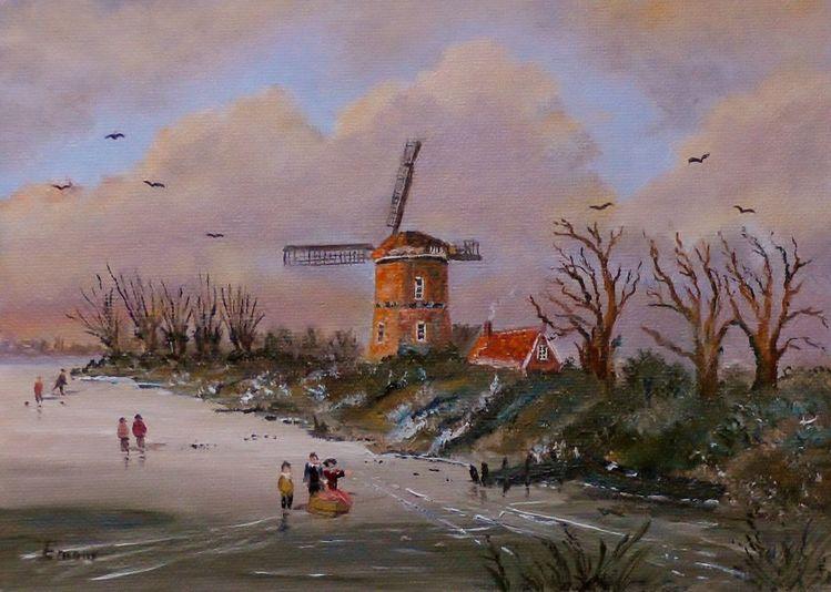 Menschen, Eis, Boot, Himmel, Landschaft, Mühle