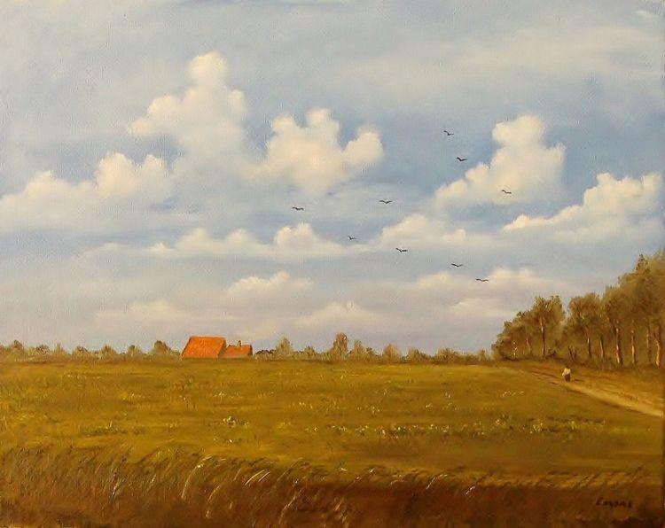 Gemälde, Vogel, Romantik, Person, Feld, Sommer