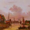 Schiff, Ölmalerei, Abend, Zeitgenössisch