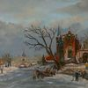 Holländische malerei, Eis, Gracht, Kirche