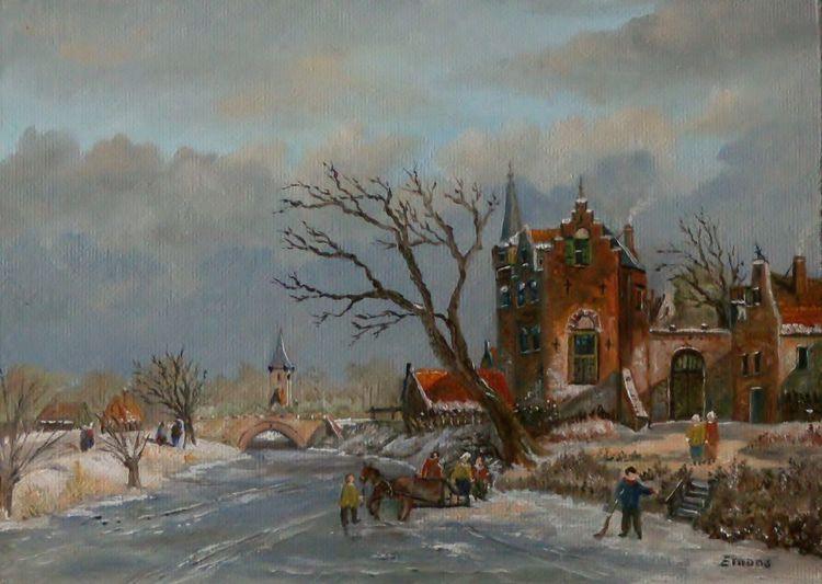 Zeigenössischer maler, Winter, Menschen, Stadt, Himmel, Eis