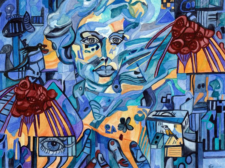 Mann, Blau, Blumen, Aquarell