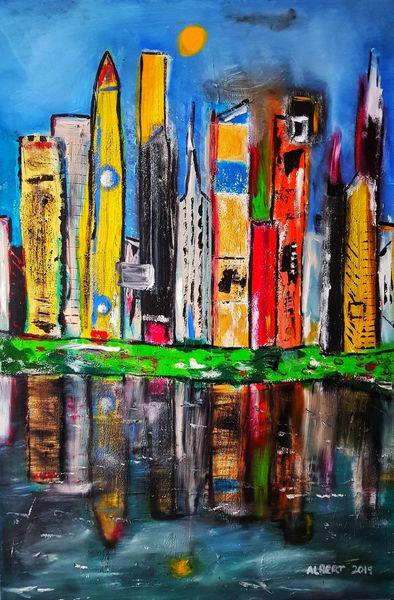 Großstadt, Skyline, Stadt, Malerei