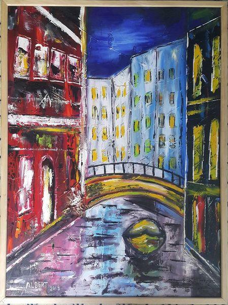 Kanal, Boot, Brücke, Malerei, Leben