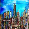 Großstadt, Hochhaus, Stadt, Malerei