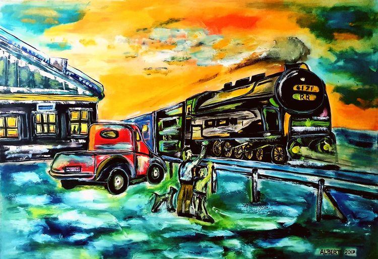 Zug, Schnellzug, Lokomotive, Eisenbahn, Malerei
