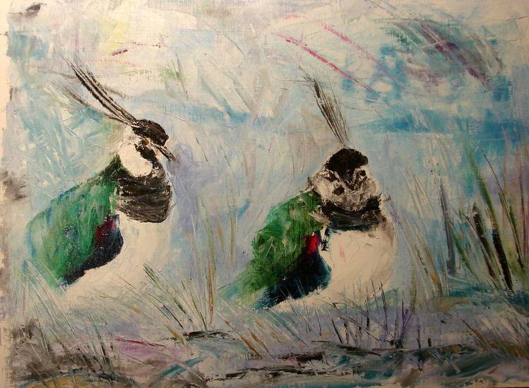Vogel, Ölmalerei, Kiebitze, Spachteltechnik, Malerei,