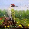 Grünspecht, Wald, Vogel, Ölmalerei