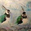 Ölmalerei, Kiebitze, Spachteltechnik, Vogel