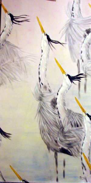 Graureiher, Tiere, Ölmalerei, Vogel, Reiher, Malerei