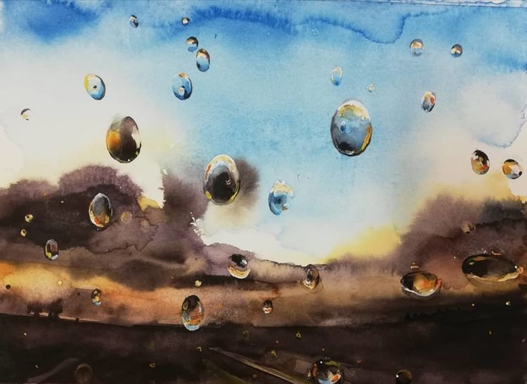 Aquarellmalerei, Tropfen, Scheibe, Aquarell