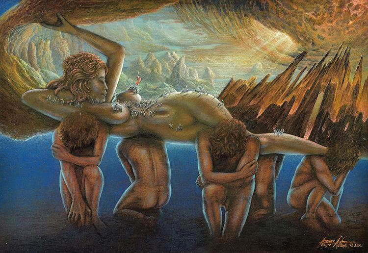 Berge, Fantastenausstrllung, Zeitgenössische kunst, Berühmte maler, Göttin, Erda