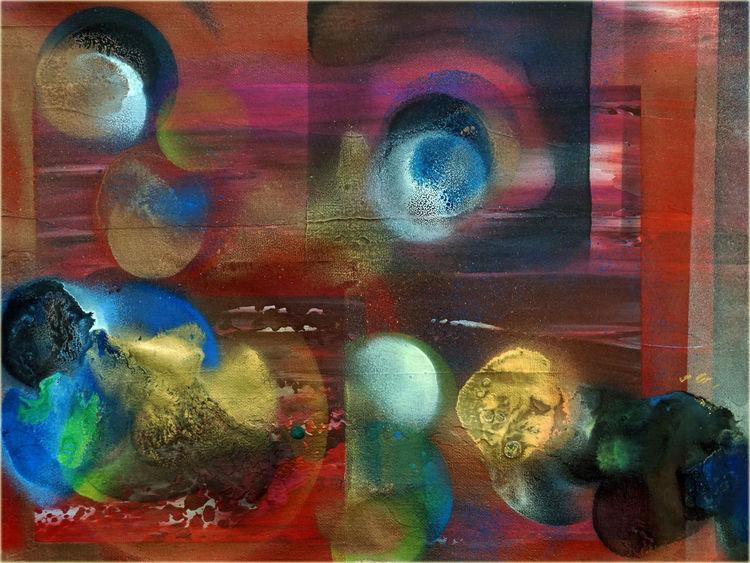 Gemälde, Acrylmalerei, Mishtechnik, Rot, Airbrush, Baumwolle