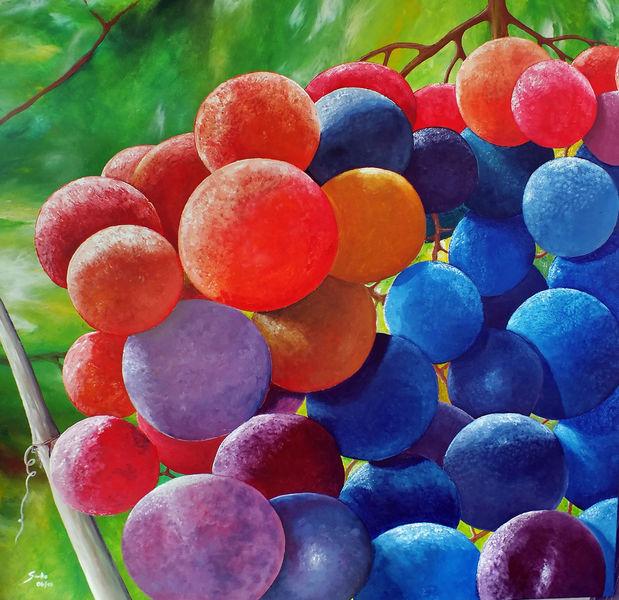 Weintrauben, Pflanzen, Genuss, Wein, Bunt, Malerei