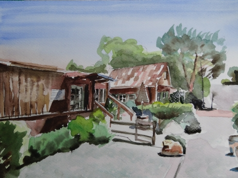 Cafe, Los, Olivos, Kalifornien, Aquarell, Architektur
