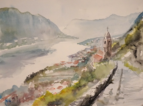 Dorf, Kirche, Küste, Aquarell
