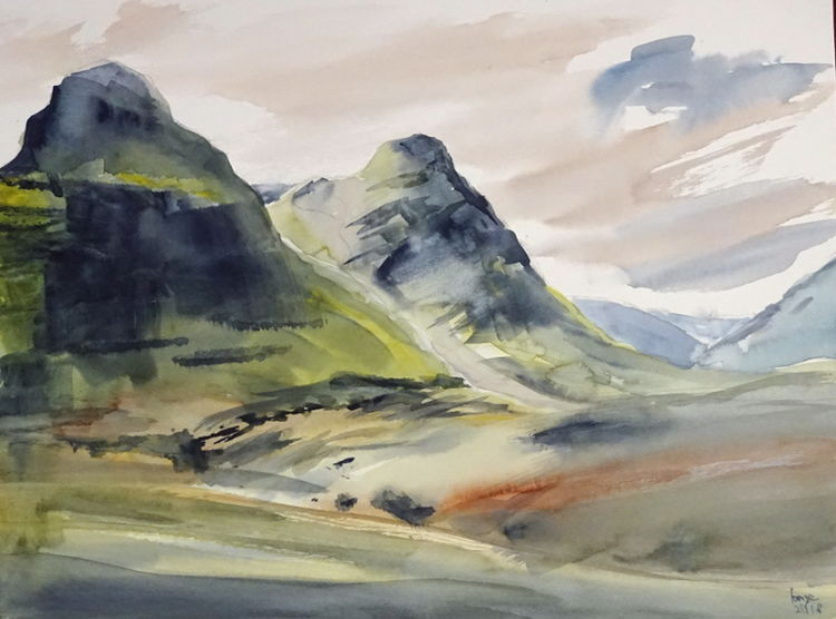 Schottland, Highlands, Glencoe, Aquarell,