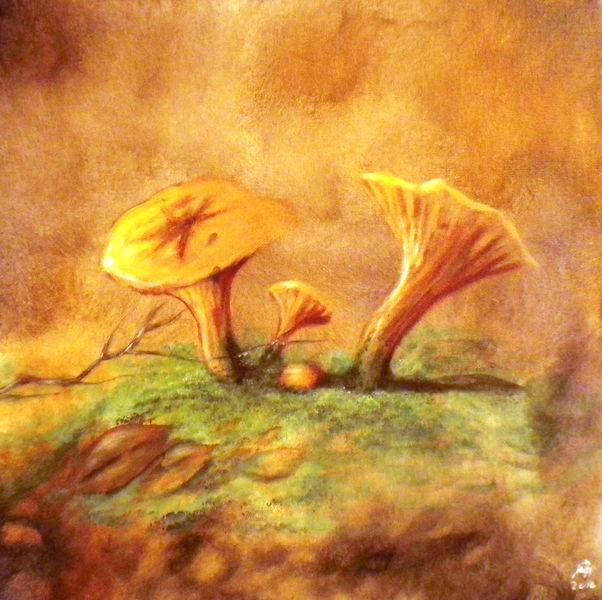 Herbst, Rot, Orange, Pilze, Malerei, Stillleben