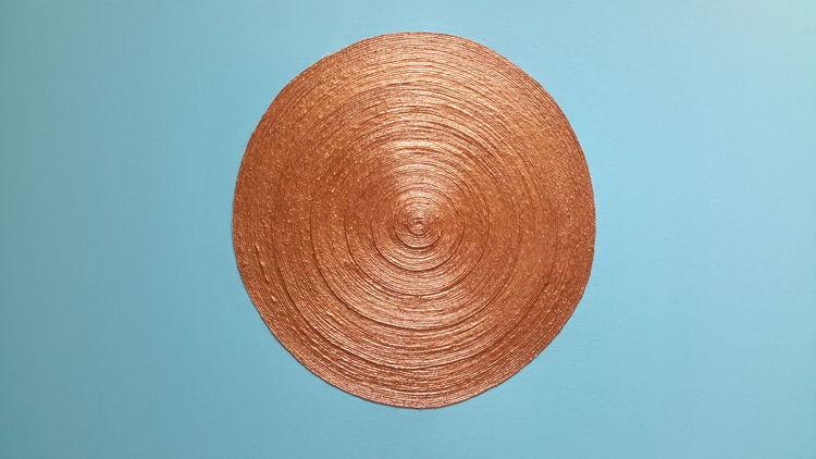 Bronze, Kreis, Schnur, Türkis, Hellblau, Mischtechnik