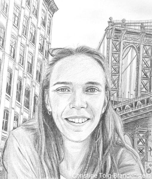 Frau, New york city, New york, Häuser, Brücke, Zeichnungen