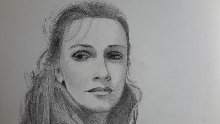 Bleistiftzeichnung, Blick, Frau, Wehmut, Nostalgie, Zeichnungen