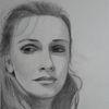 Bleistiftzeichnung, Blick, Frau, Wehmut