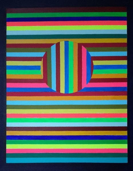 Kreis, Bunt, Neon, Schwarz, Streifen, Malerei