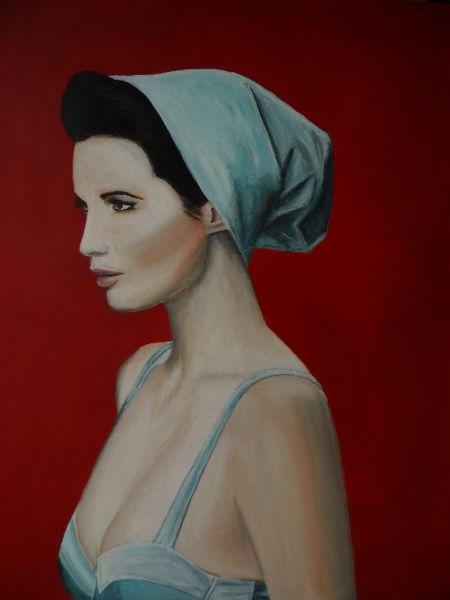 Rot schwarz, Weiß, Frau, Tuch, Portrait, Malerei