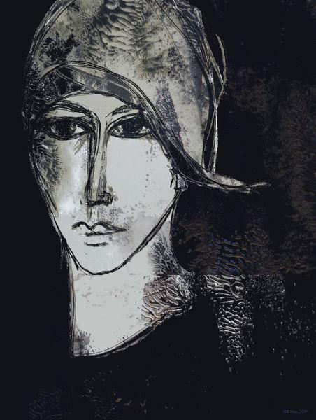 Portrait, Schwarzweiß, Ausdruck, Gesicht, Nachsehen, Mischtechnik