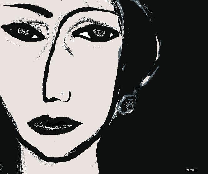 Schwarz weiß, Gesicht, Portrait, Ausdruck, Leere, Mischtechnik