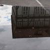 Wolken, Pfütze, Haus, Spiegelung
