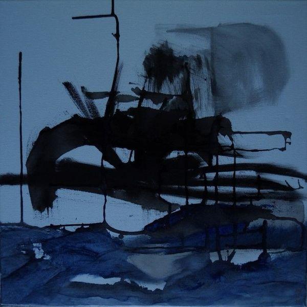 Eis, Blau, Schlitten, Winter, Malerei, Unterwegs