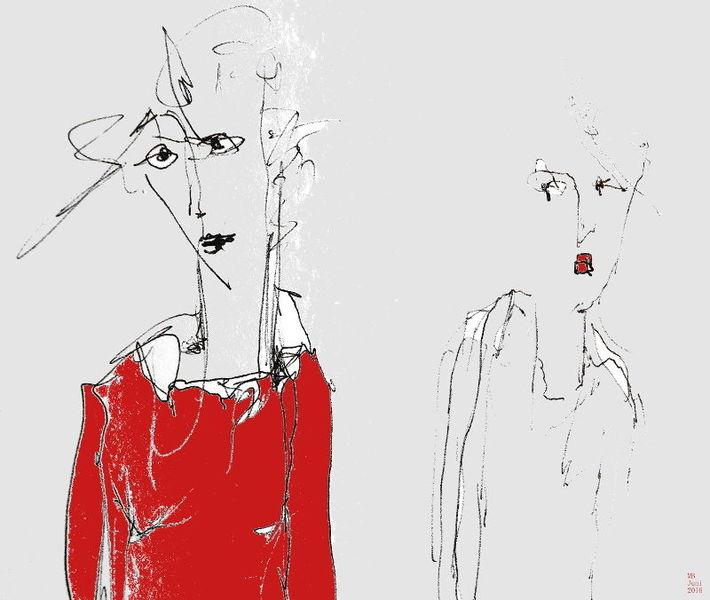 Skurril, Blick, Kleid, Rot, Zeichnungen