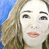 Lächeln, Mädchen, Portrait, Malerei
