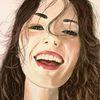 Lachen, Mädchen, Portrait, Malerei